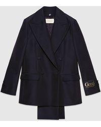 Gucci グッチ取り外し可能なラペル付き ファイユ ジャケット - ブラック