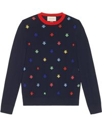Gucci - Pullover aus Strick mit Bienen- & Sternen-Intarsie - Lyst