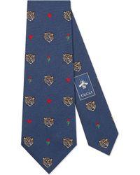 Gucci - Tigers Pattern Silk Tie - Lyst