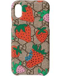 Gucci Cover per iPhone X/XS stampa Strawberry - Neutro