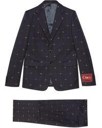 Gucci Traje de lana con GG - Azul