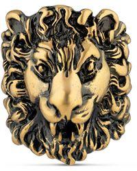 Gucci Anillo de cabeza de león con cristales - Metálico