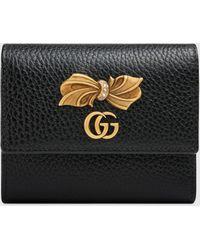 Gucci Brieftasche aus Leder mit Schleife - Schwarz
