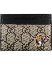 Gucci Kartenetui aus GG Supreme mit Tigerprint - Natur