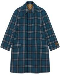Gucci Wendbarer Mantel aus Wolle mit Schottenmuster - Blau