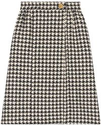 Gucci Houndstooth Skirt - White