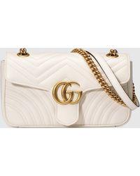 Gucci - 【公式】 (グッチ)〔GGマーモント〕キルティング スモール ショルダーバッグホワイト レザーホワイト - Lyst
