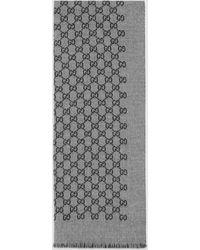 Gucci Halstuch aus doppeltem Wolljacquard mit GG - Grau