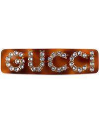 Gucci Pince à cheveux en cristaux - Marron