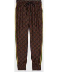 Gucci 【公式】 (グッチ)GGスプリーム プリント シルク パンツブラウン&ブラックブラウン