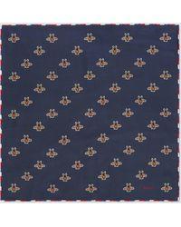 Gucci Seideneinstecktuch mit Print - Blau