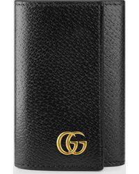 Gucci 【公式】 (グッチ)〔GGマーモント〕 レザー キーケースブラック レザーブラック