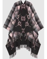 Gucci Wendbarer Poncho aus Wolle mit GG Motiv - Grau