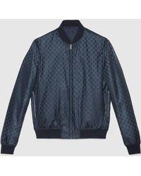 Gucci Reversible Gg Jacquard Nylon Bomber Jacket - Blue