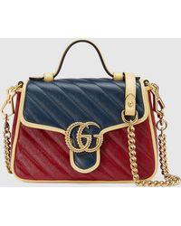 Gucci GG Marmont Mini Henkeltasche - Blau