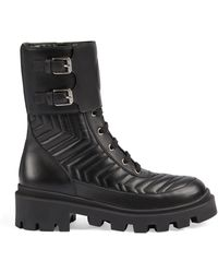 Gucci Frances Chevron-quilted Leather Heeled Biker Boots - Black