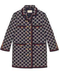 Gucci Manteau en tweed à monogramme GG - Multicolore