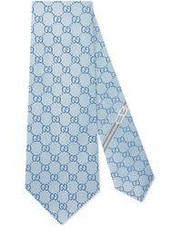 Gucci Cravate à motif GG - Bleu