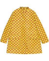 Gucci Water Resistant GG Tweed Coat - Yellow