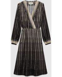 Gucci 【公式】 (グッチ)スカーフ付き プリント シルク ドレスブラック&アイボリーブラック