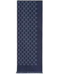 Gucci Écharpe en jacquard de laine GG - Bleu