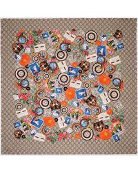 Gucci Tuch aus Seide mit Courrier Print - Natur