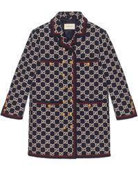 Gucci Abrigo de tweed con motivo GG - Multicolor