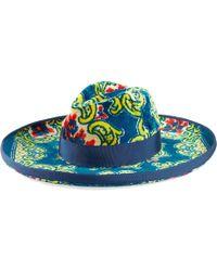 Gucci - Hut aus Samt mit Blumen-Brokat-Print - Lyst