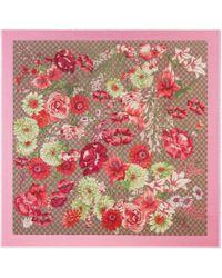 Gucci Châle en modal et soie à imprimé bouquet de printemps - Neutre