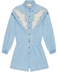 Gucci - Denim Jumpsuit With Ny Yankeestm Patch - Lyst