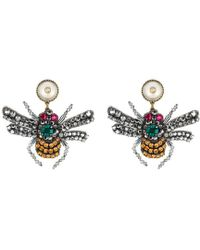 Gucci - Crystal Embroidered Bee Earrings - Lyst