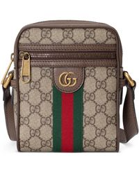 Gucci GG Supreme Canvas And Leather Cross-body Bag - Natural