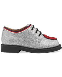 Gucci - Toddler Glitter Lace-up With Patch - Metallic