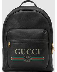 Gucci - グッチ プリント レザー バックパック - Lyst