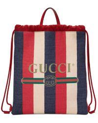 Gucci - Print Medium Drawstring Backpack - Lyst
