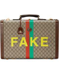 """Gucci Maleta mediana con letras """"Fake/Not"""" - Neutro"""