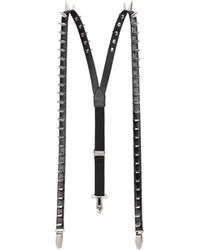 Gucci Leather Suspenders With Spikes - Black