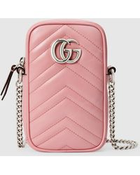 Gucci グッチ〔GGマーモント〕ミニバッグ - ピンク
