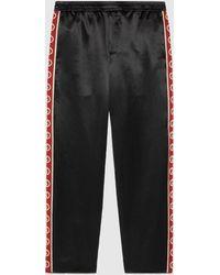 Gucci グッチインターロッキングg ストライプ アセテート パンツ - ブラック