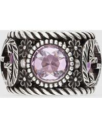 Gucci Ring aus Silber mit GG und Blumen - Mehrfarbig