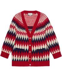 Gucci Cárdigan de lana con jacquard de zigzag - Rojo