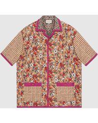 Gucci Übergroßes, gestepptes Bowling-Shirt mit Print - Pink