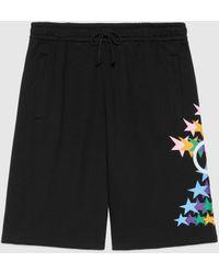 Gucci 【公式】 (グッチ)インターロッキングg スターフラッシュ プリント コットン ショートパンツ ブラックブラック