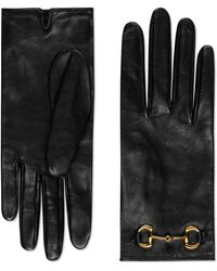 Gucci Guante de piel con Horsebit - Negro