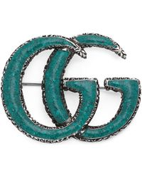 Gucci - Enameled Double G Brooch - Lyst
