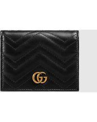 Gucci - 【公式】 (グッチ)〔GGマーモント〕 カードケース (コイン&紙幣入れ付き)ブラック レザーブラック - Lyst