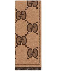 Gucci Bufanda de jacquard de lana con GG - Marrón