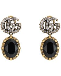 Gucci Double G Earrings With Black Crystals - Metallic