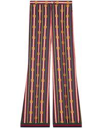 Gucci Pantalone pigiama in seta con stampa cinture GG Quadro - Blu