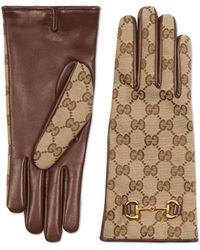 Gucci GG Canvas Gloves With Horsebit - Natural